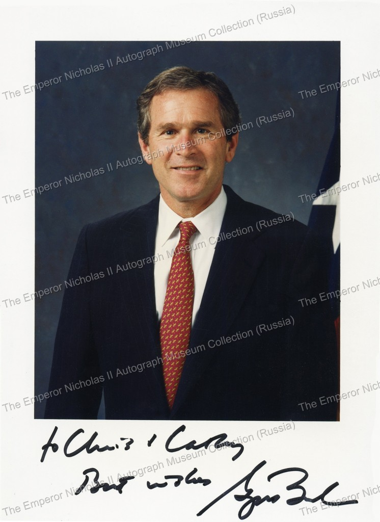 Автограф Д.Буша, 43-го Президента США. George Walker Bush Autograph.